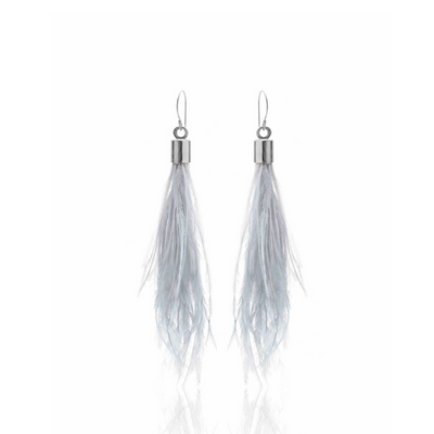 Silk & Steel Jewellery Blown Away Ostrich Feather Tassel earrings Grey Silver