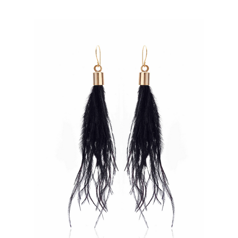 Silk & Steel Jewellery Blown Away Ostrich Feather Tassel earrings Black Gold