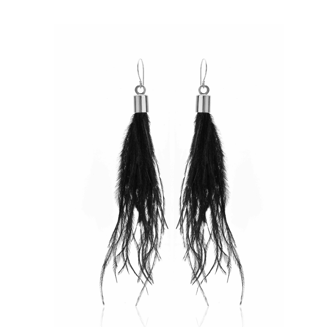 Silk & Steel Jewellery Blown Away Ostrich Feather Tassel earrings