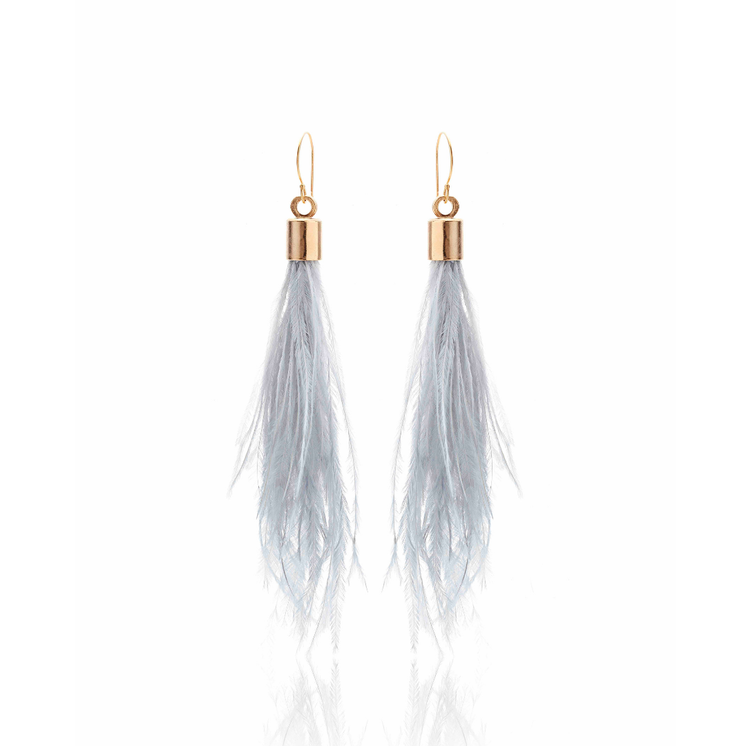Silk & Steel Jewellery Blown Away Ostrich Feather Tassel earrings Grey Gold