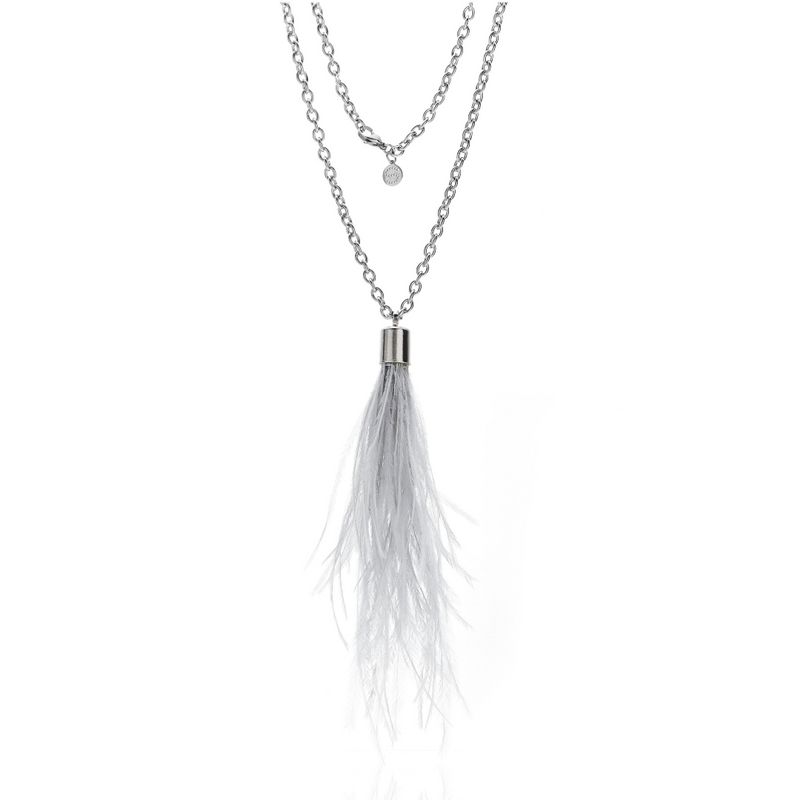 Silk & Steel Jewellery Blown Away Grey Ostrich Feather Necklace