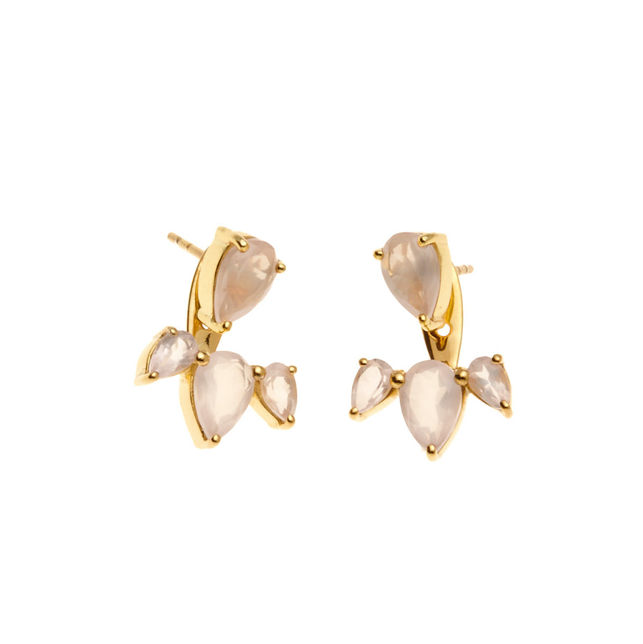 Silk & Steel Jewellery - Allure Ear Jackets - Gold and Rose Quartz