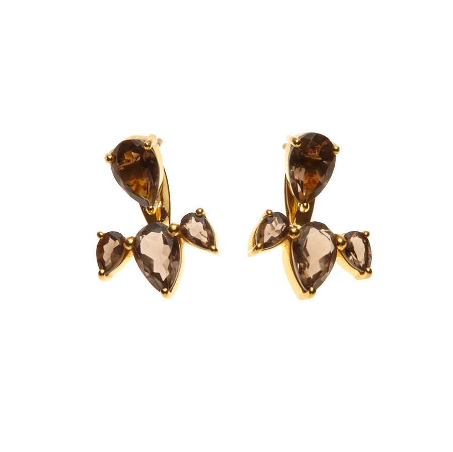 Silk & Steel Jewellery - Allure Ear Jackets - Gold and Smokey Quartz