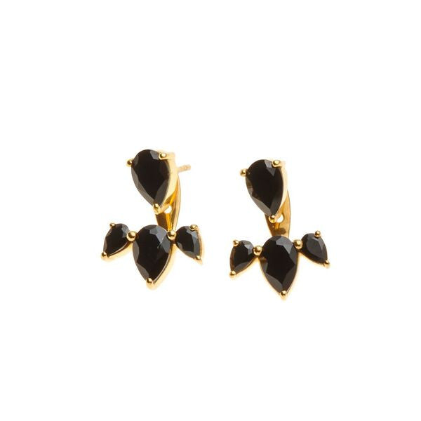 Silk & Steel Jewellery - Allure Ear Jackets - Gold and Spinel