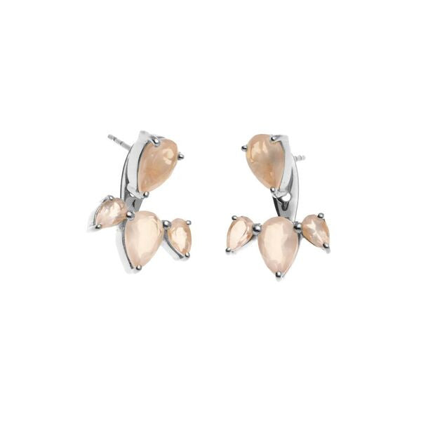 Silk & Steel Jewellery - Allure Ear Jackets - Silver and Rose Quartz