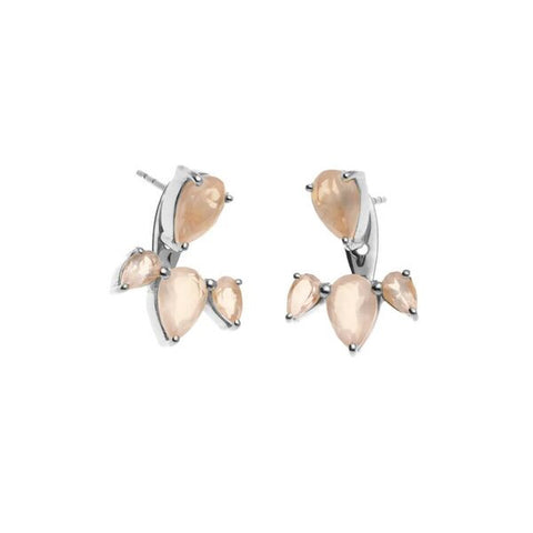 Superluxe / Ear Jackets / Allure / Silver + Rose Quartz