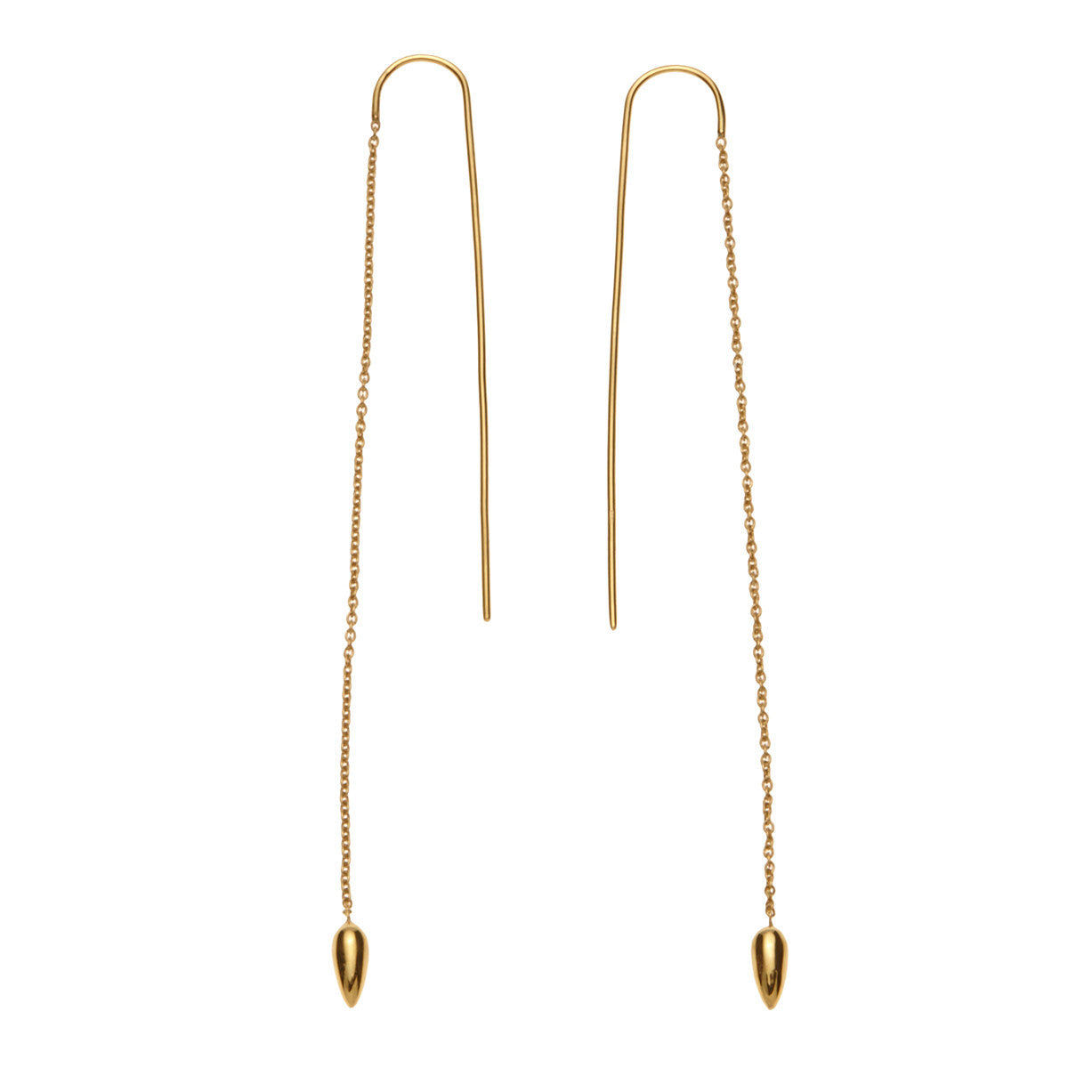 Silk&Steel Jewellery - Anther Threaded Earrings Gold