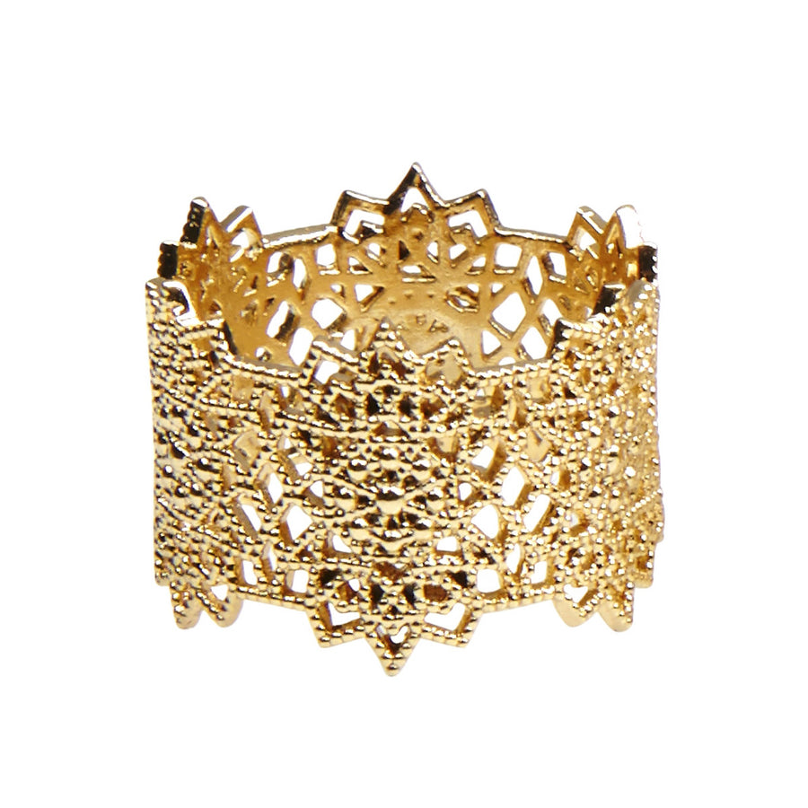 Silk&Steel Jewellery - Gold Flora Lace Ring