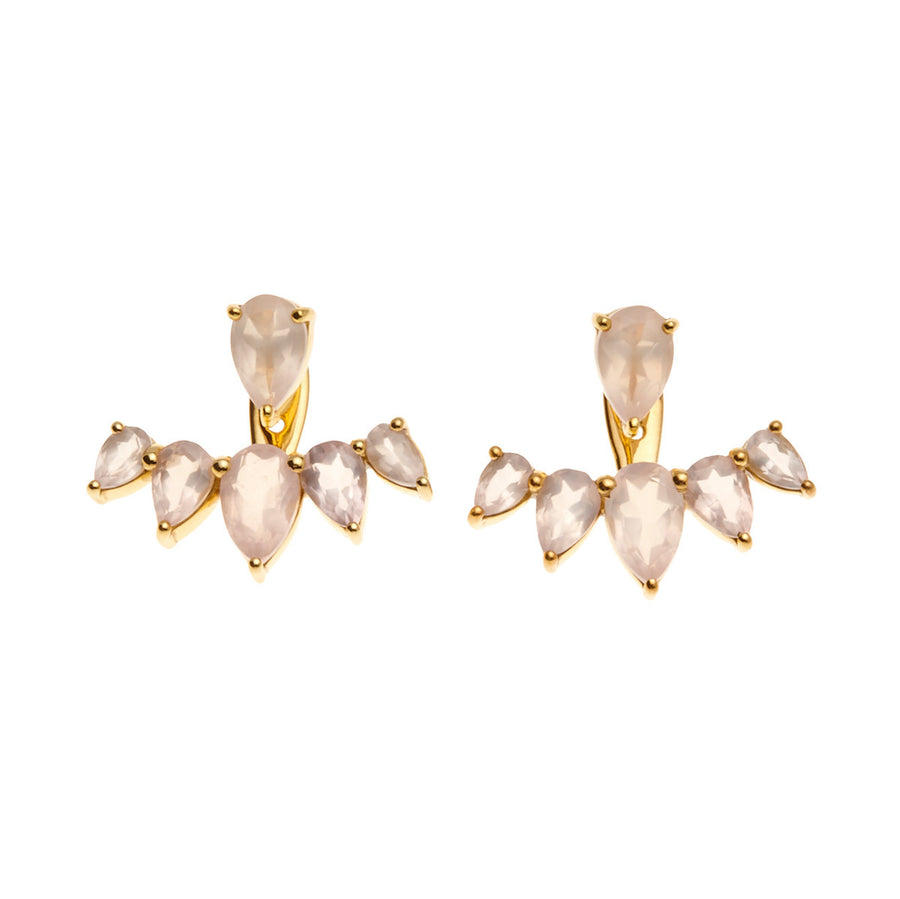 Silk & Steel Jewellery Majestic Ear Jackets - Gold and Rose Quartz