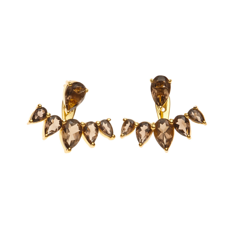 Silk & Steel Jewellery Majestic Ear Jackets - Gold and Smokey Quartz