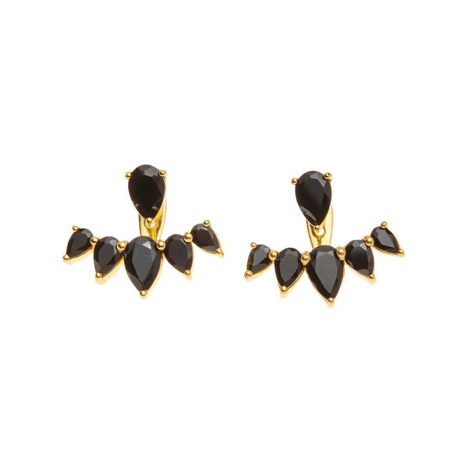 Silk & Steel Jewellery Majestic Ear Jackets - Gold and Spinel