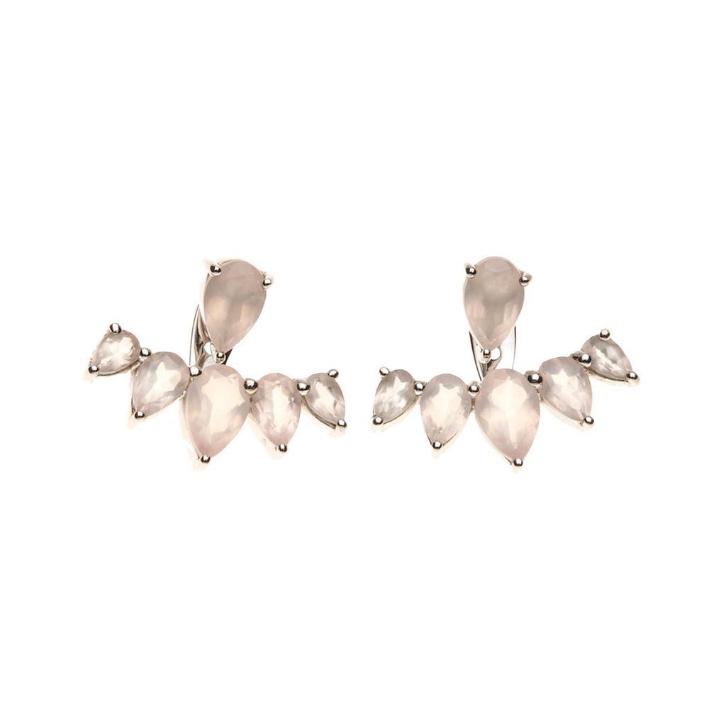 Silk & Steel Jewellery Majestic Ear Jackets - Silver and Rose Quartz