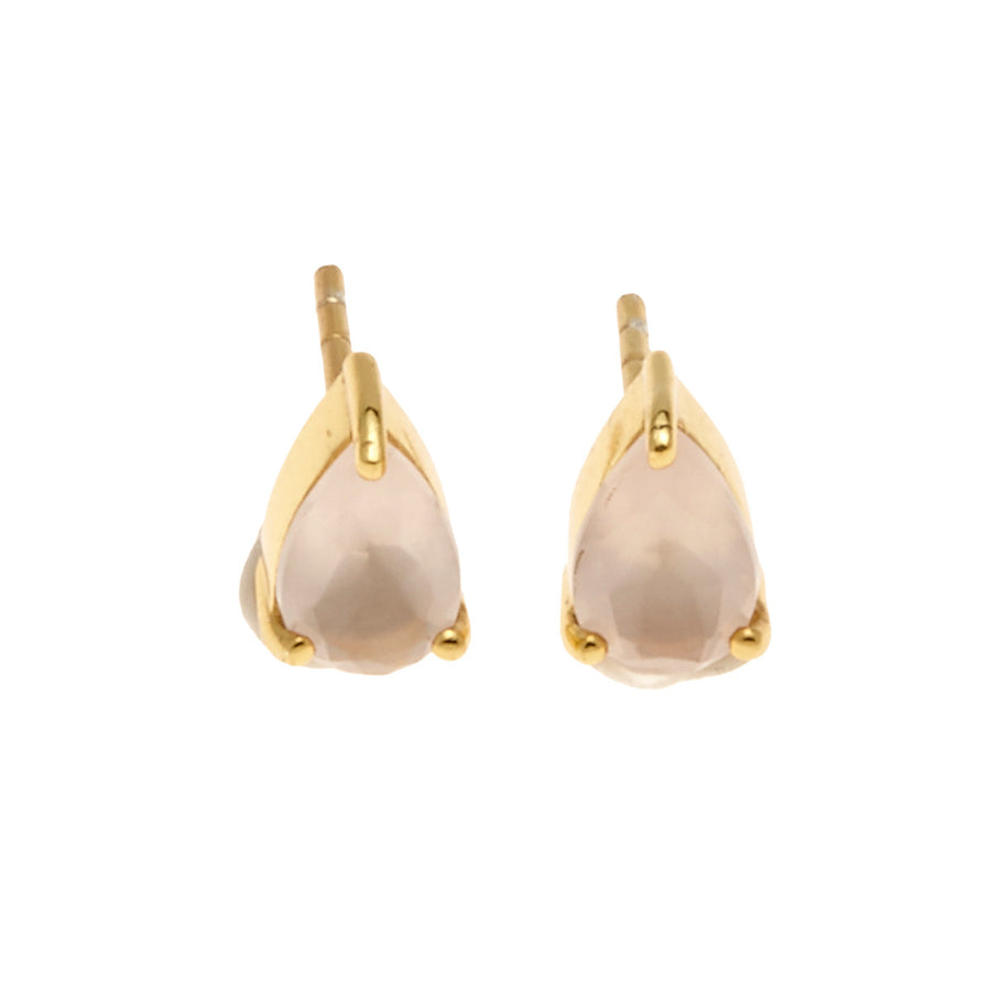 Silk&Steel Jewellery On-Point Earrings - Gold and Rose Quartz