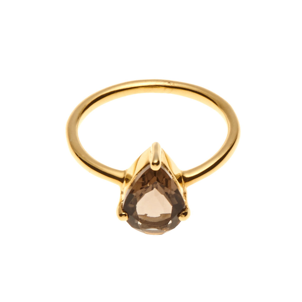 Silk&Steel Jewellery On-Point Ring - Gold and Smokey Quartz