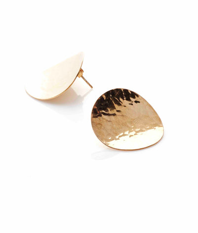 Silk & Steel Jewellery Roundabout Gold Beaten Statement Earrings
