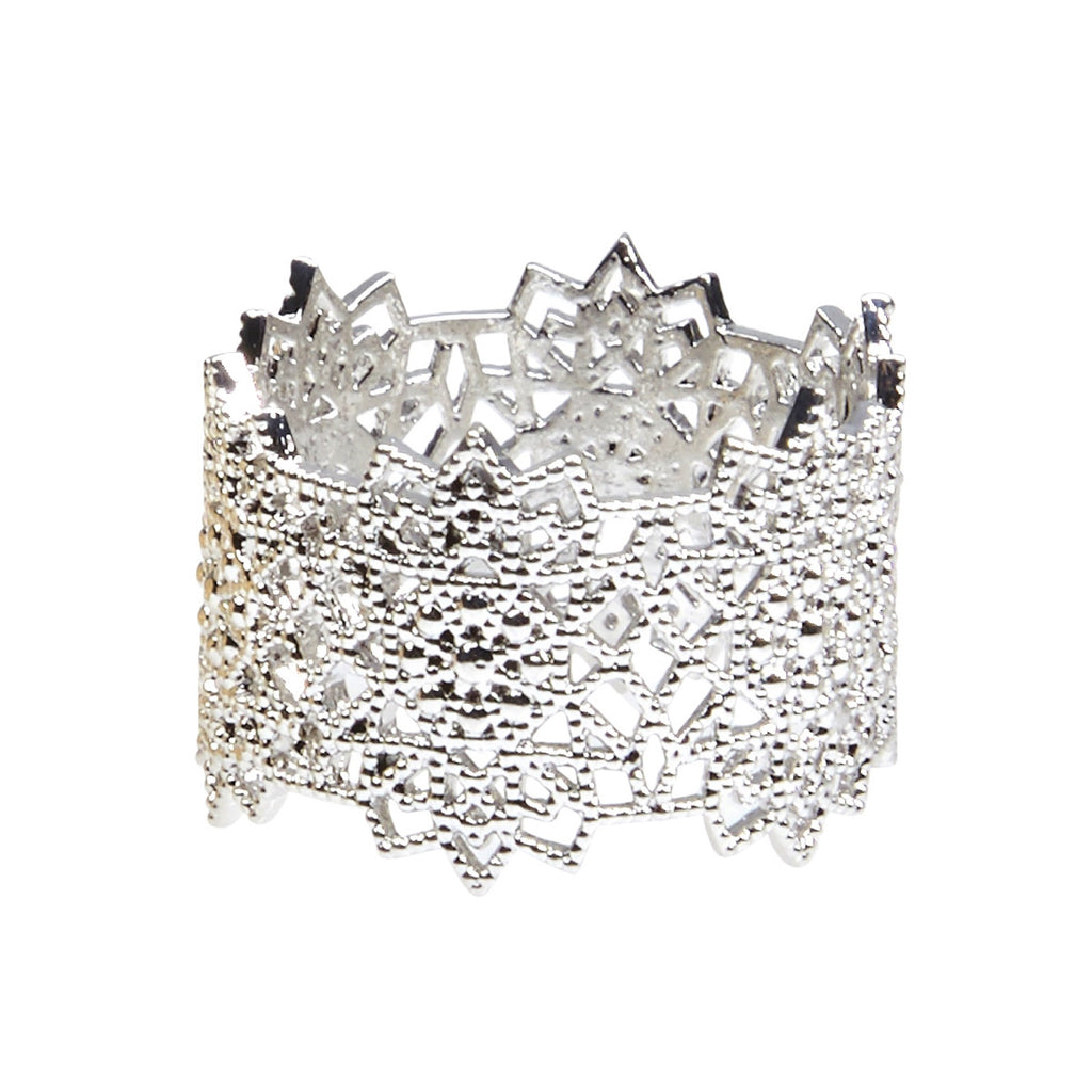 Silk&Steel Jewellery - Silver Flora Lace Ring