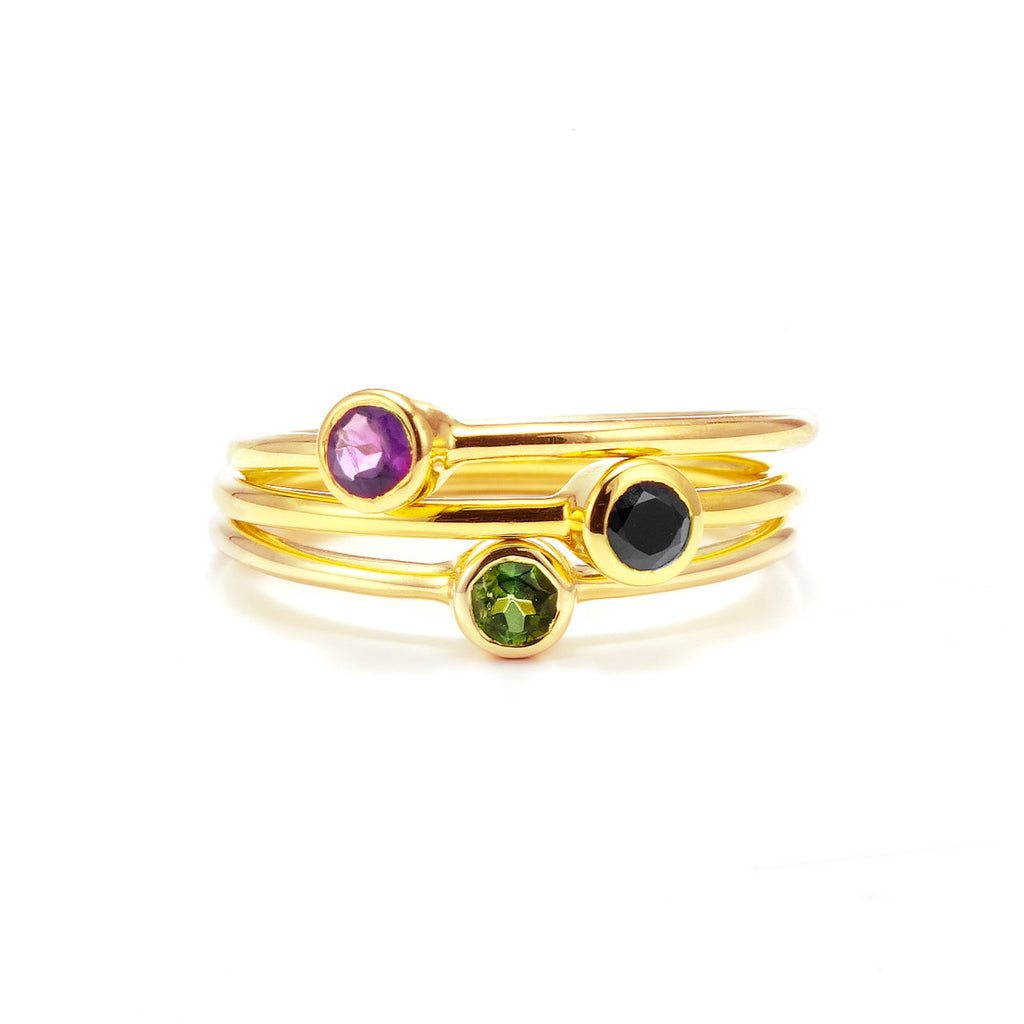 Silk&Steel Jewellery - Superluxe Pistil Bouquet Rings - Gold with Green Tourmaline, Amethyst, Black Spinel. Set of 3