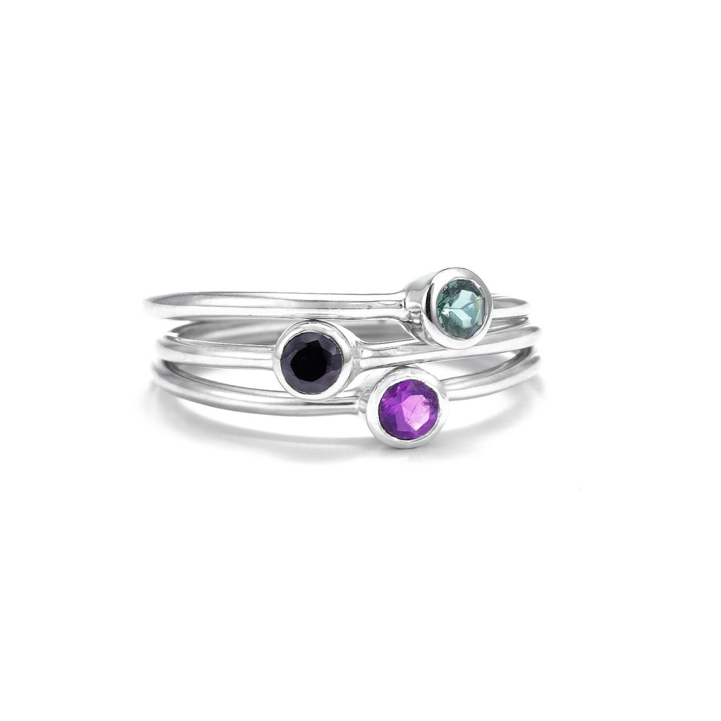 Silk&Steel Jewellery - Superluxe Pistil Bouquet Rings - Silver with Green Tourmaline, Amethyst, Black Spinel. Set of 3