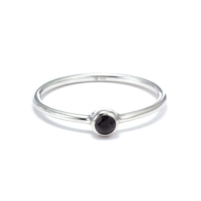 Silk&Steel Jewellery - Superluxe Pistil Ring (part of set) Silver with Black Spinel