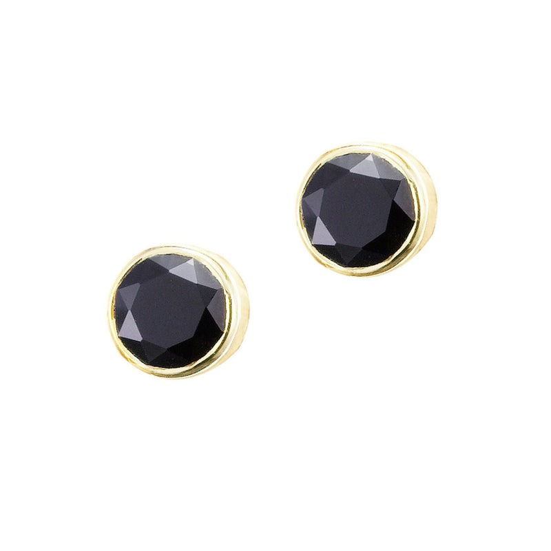 Silk&Steel Jewellery - Superluxe Pistil Stud Earrings - Gold with Black Spinel