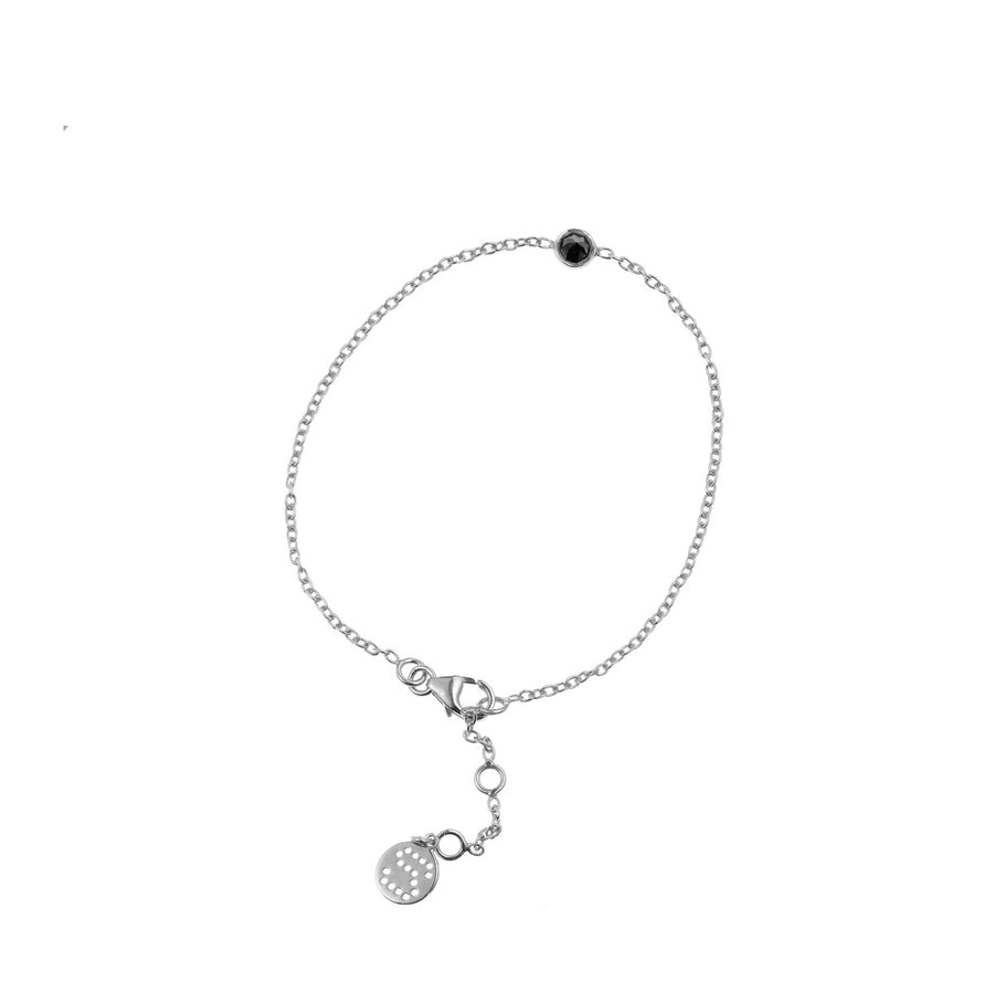 Silk & Steel Jewellery - Superluxe Thorn Bracelet Silver and Black Spinel
