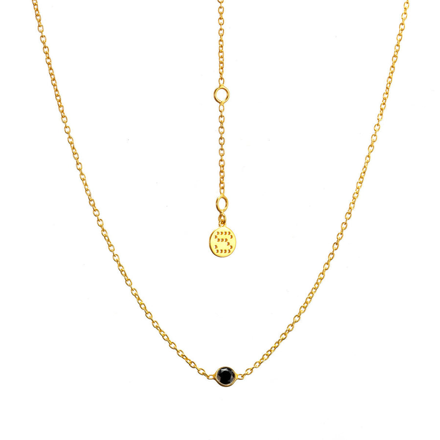 Silk&Steel Jewellery - Thorn Necklace Gold with Black Spinel