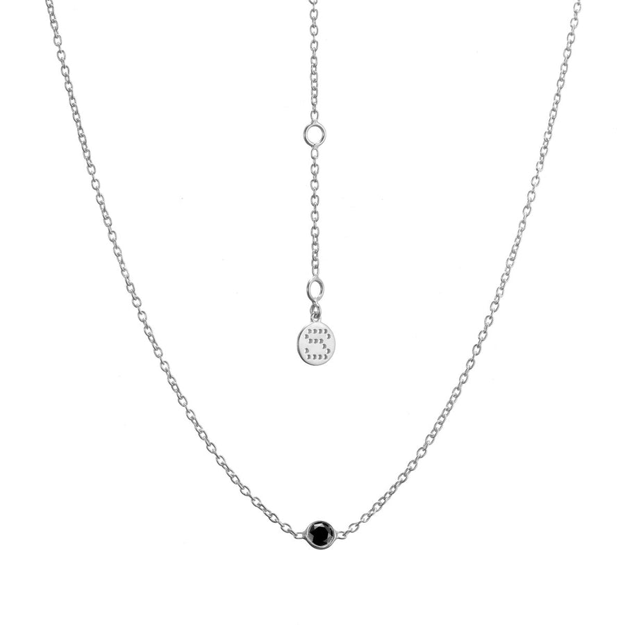 Silk&Steel Jewellery - Thorn Necklace Silver with Black Spinel