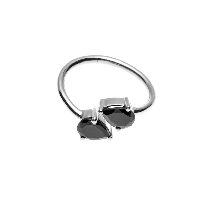 Silk & Steel Jewellery - Two the Point Ring Silver with Spinel
