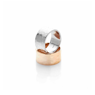 Silk & Steel Jewellery Beaten ring gold
