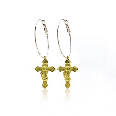 Silk&Steel Jewellery Faithful Cross Earrings - Faithful
