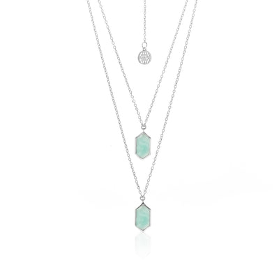 Silk&Steel Jewellery Haveli Necklace Amazonite + Silver