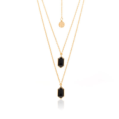 Silk&Steel Jewellery Haveli Necklace Black Spinel + Gold