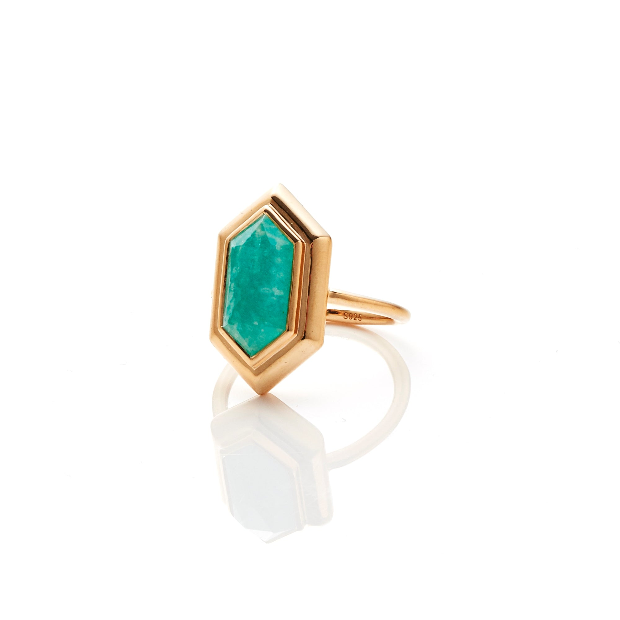 Silk&Steel Jewellery Haveli Ring in Amazonite and Gold from Haveli Collection