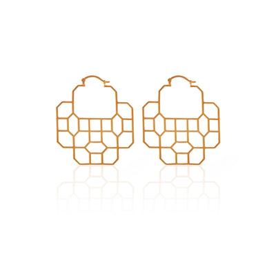 Silk & Steel Jewellery Regal Gold Hoop Earrings Haveli 2 Collection
