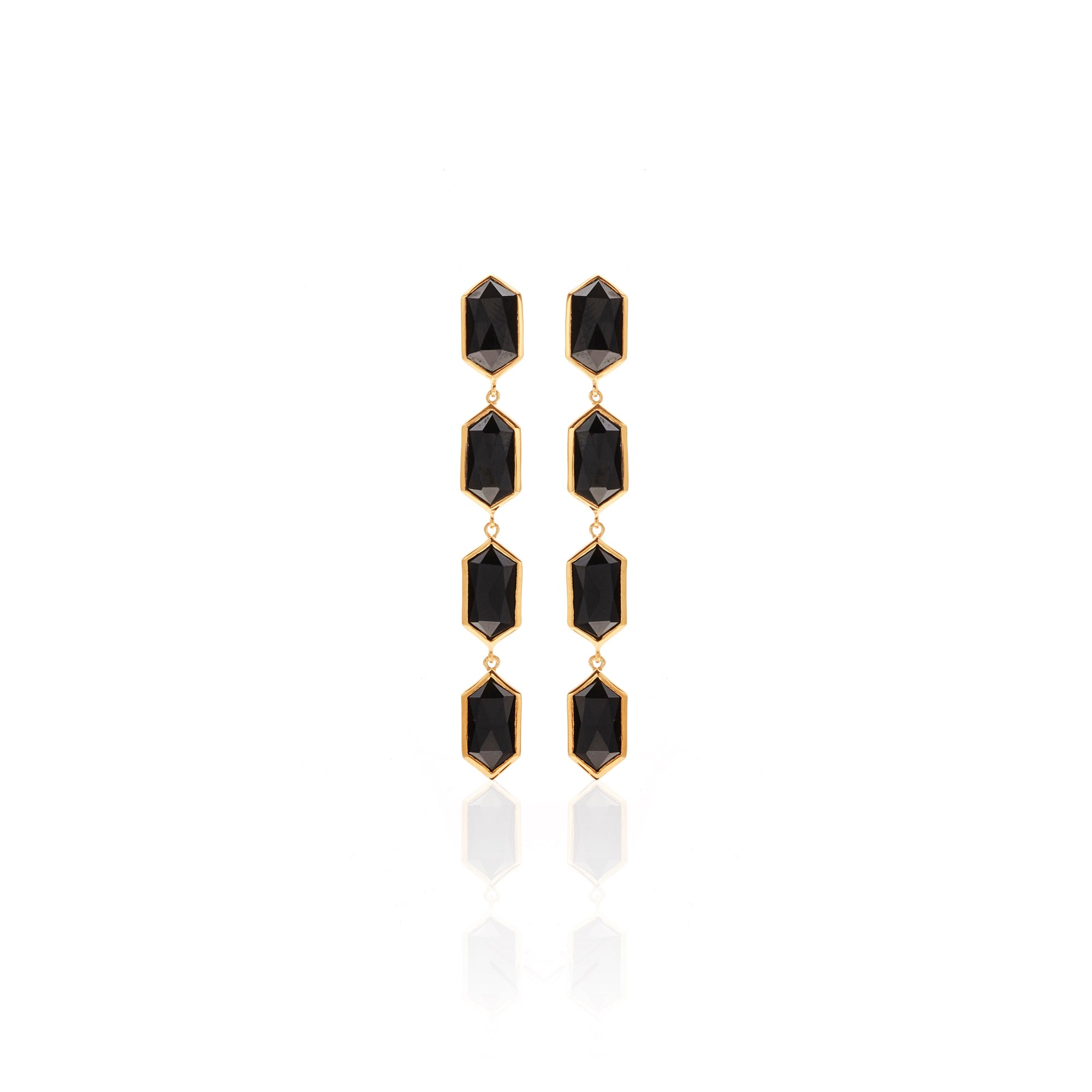 Silk&Steel Jewellery Reign Earrings Black Spinel and Gold from Haveli Collection