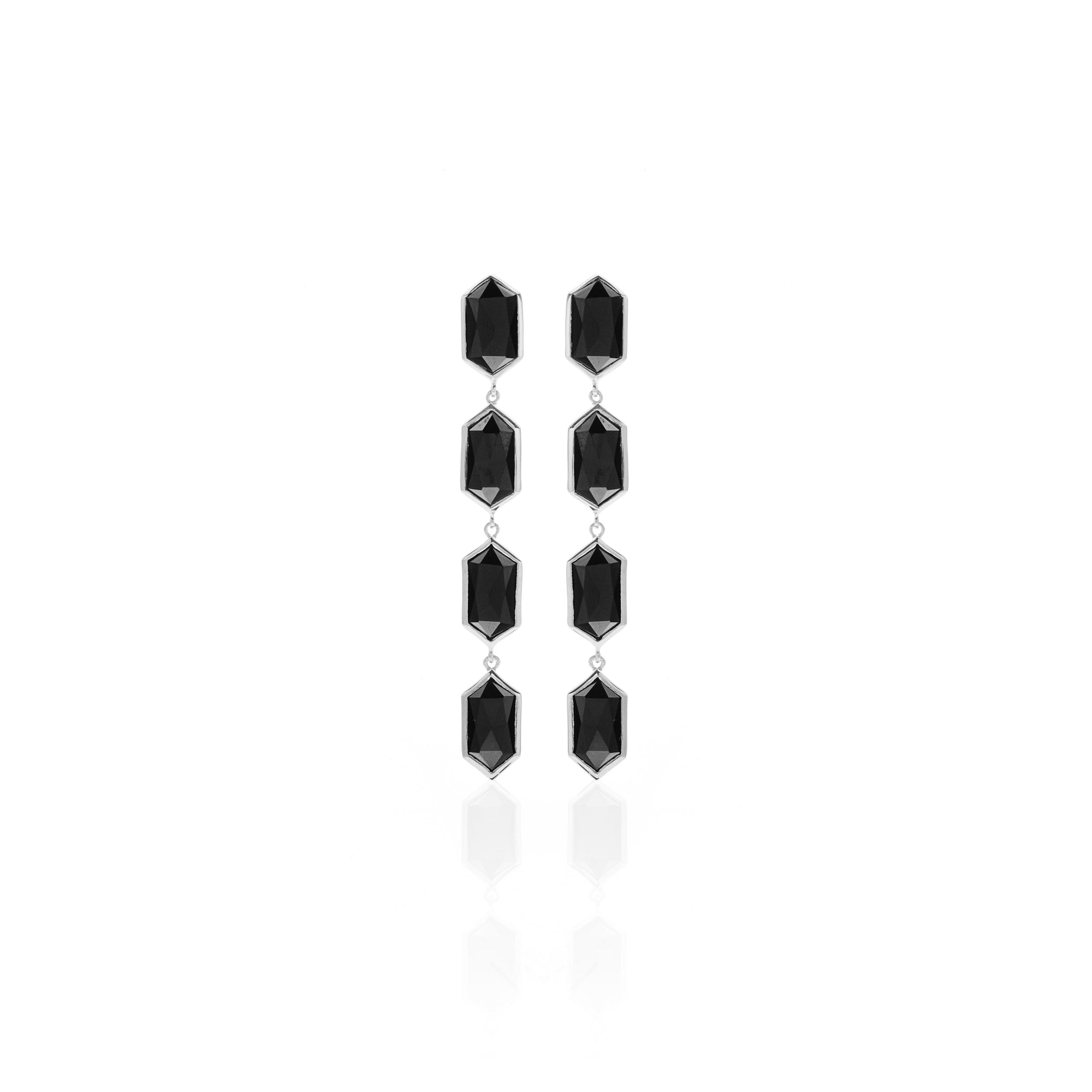 Silk&Steel Jewellery Reign Earrings Black Spinel and Silver from Haveli Collection