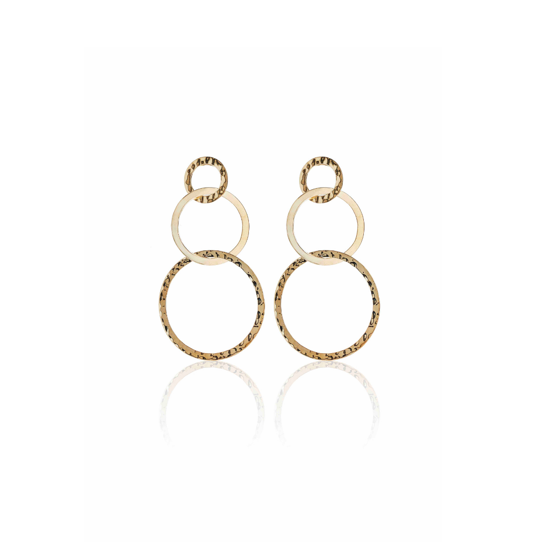 Silk & Steel Jewellery Round in Circles Gold Beaten Statement Earrings