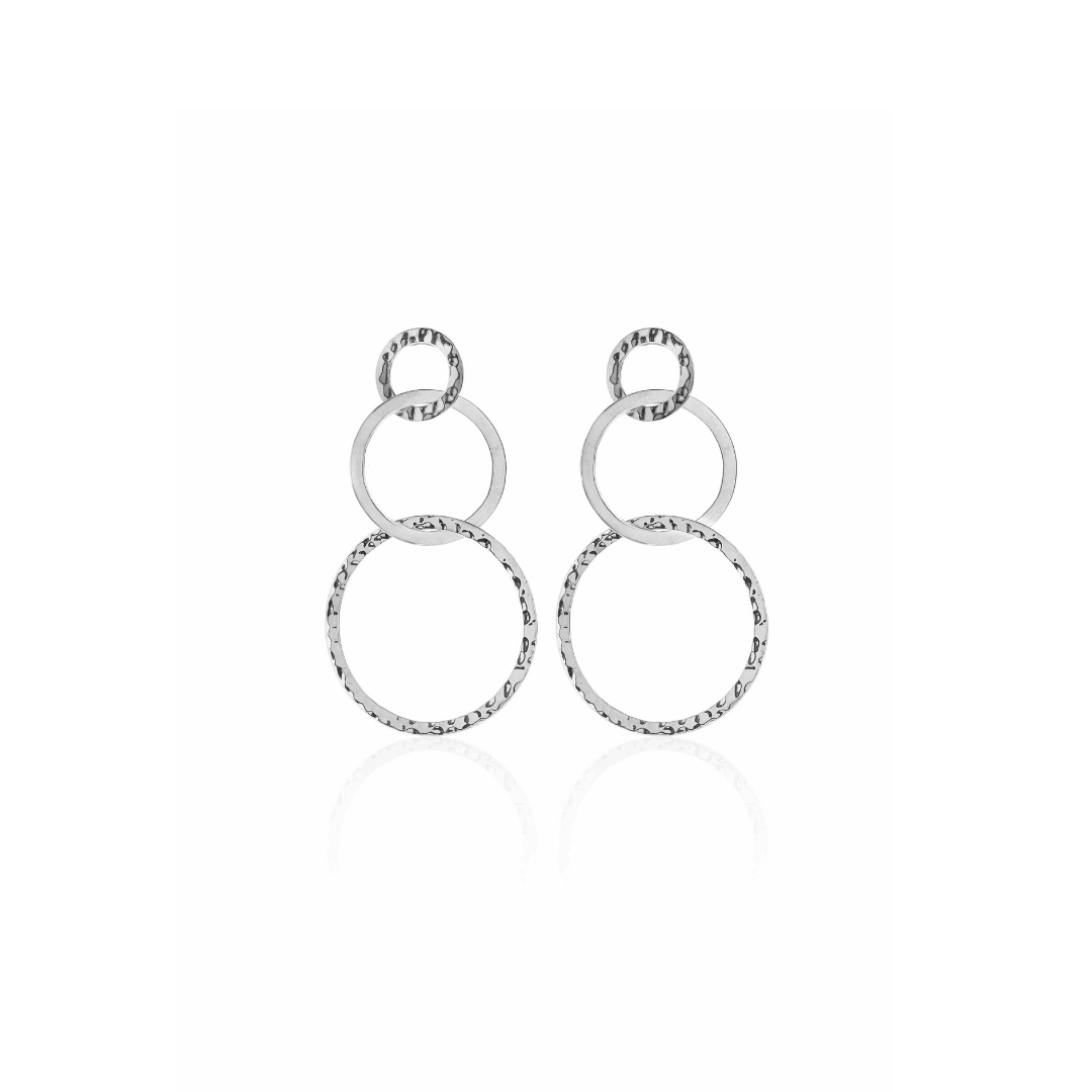 Silk & Steel Jewellery Round in Circles Silver Beaten Statement Earrings