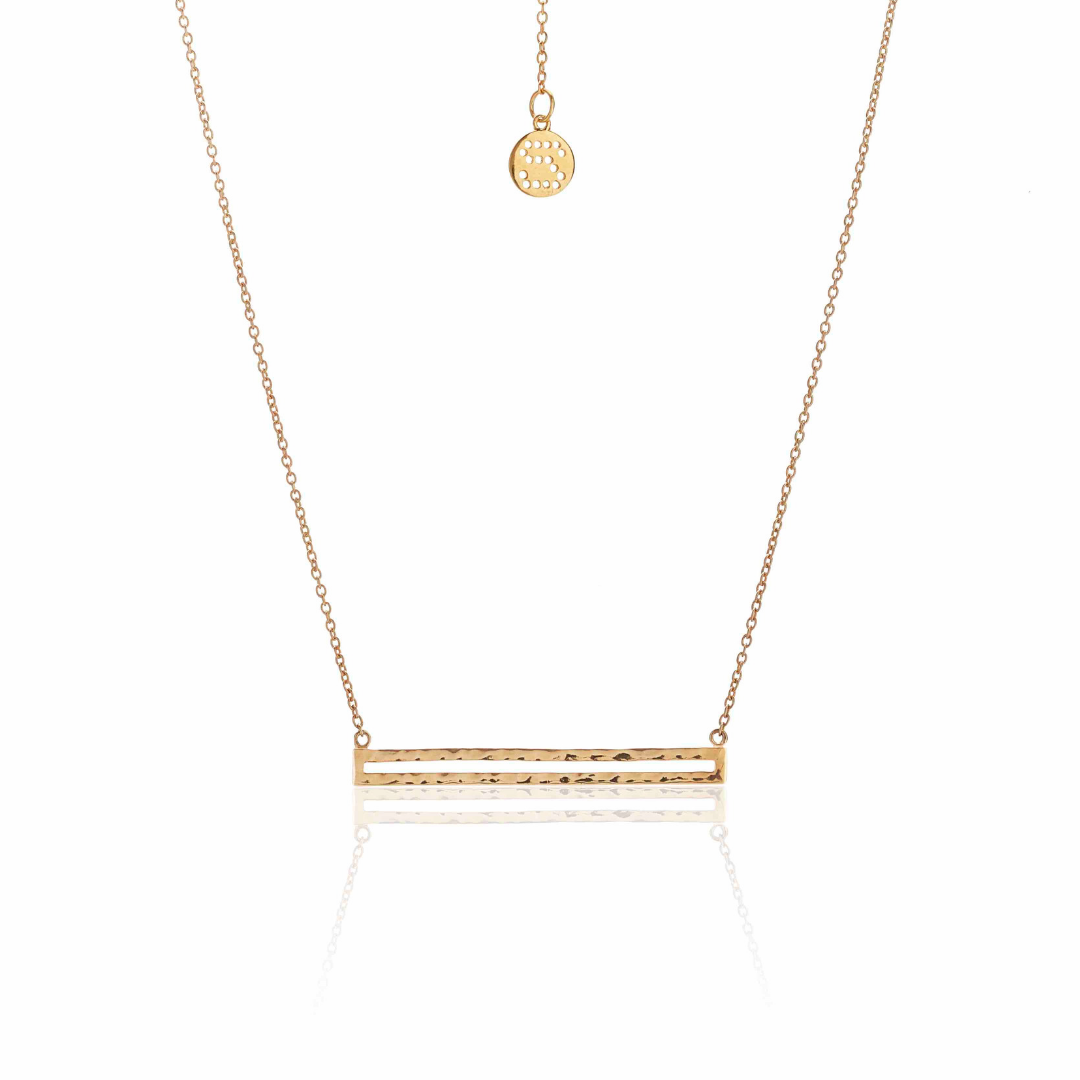 Silk & Steel Long Way Beaten Necklace Gold