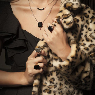 Silk&Steel Jewellery Prima Donna Black Spinel and Silver Ring La Dolce Vita