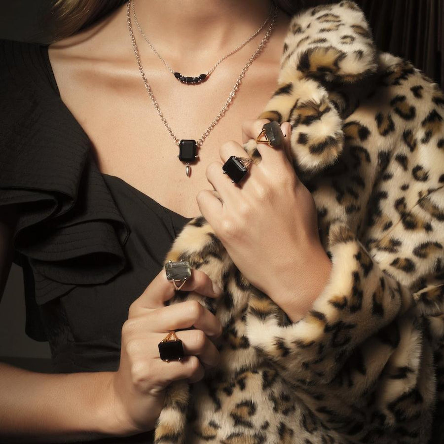 Silk&Steel Jewellery Prima Donna Black Spinel and Gold Ring La Dolce Vita