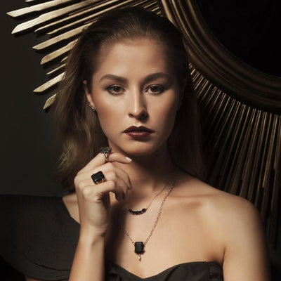 SILK&Steel Jewellery Amore Black Spinel and Gold Necklace from La Dolce Vita Collection