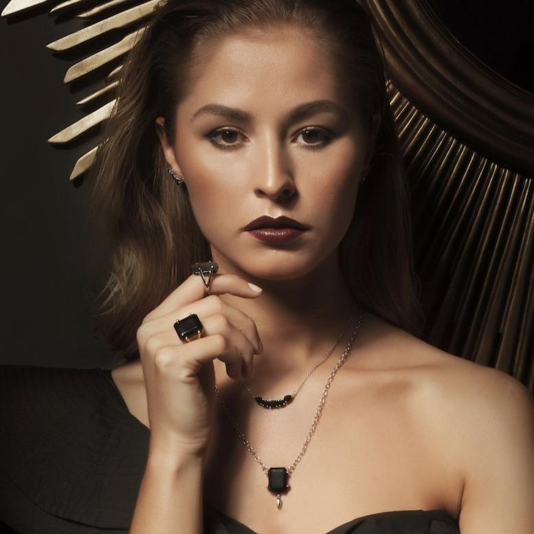 Silk&Steel Jewellery Prima Amore Black Spinel and Silver Ear Climber from La Dolce Vita Collection