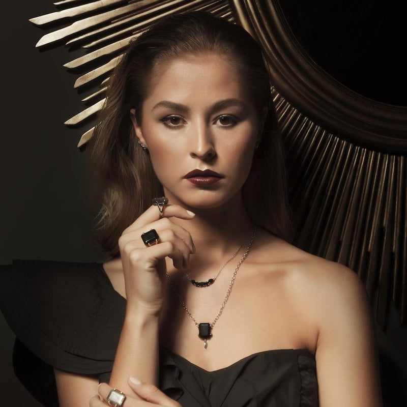 Silk&Steel Jewellery Prima Donna Black Spinel and Gold Earrings La Dolce Vita
