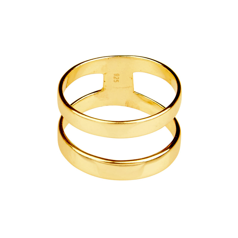 Silk & Steel Parallel Lives Gold Plated Sterling Silver Ring