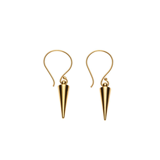 Silk & Steel Pin Pointer Spike Earrings Gold