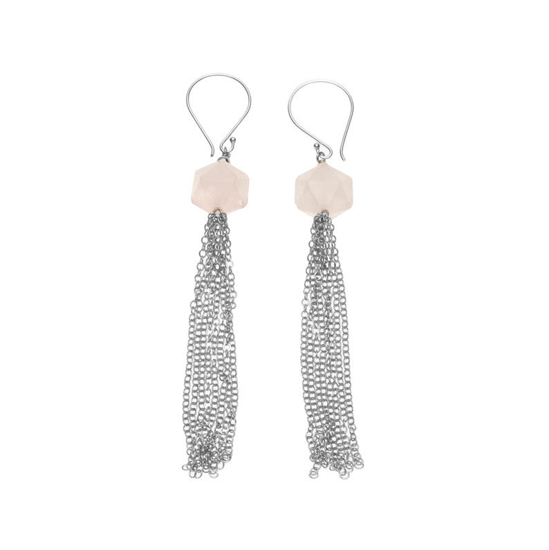 Silk & Steel Seduction Rose Quartz Tassel Earrings