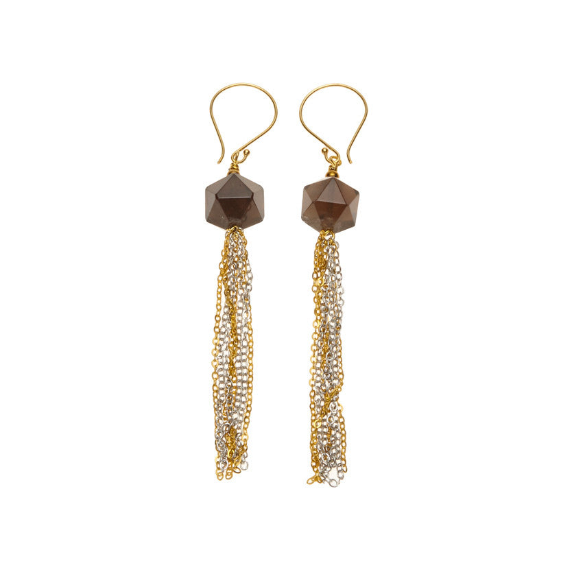 Silk & Steel Seduction Smokey Quartz Tassel Earrings