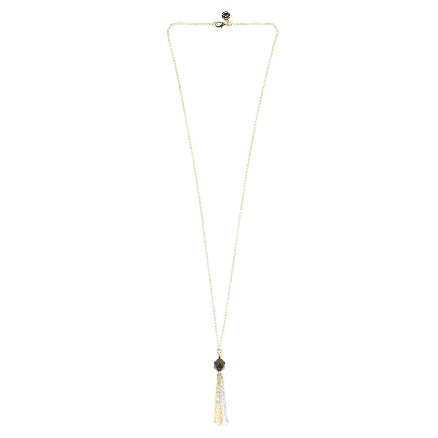 Silk&Steel Seduction Smokey Quartz Tassel Necklace