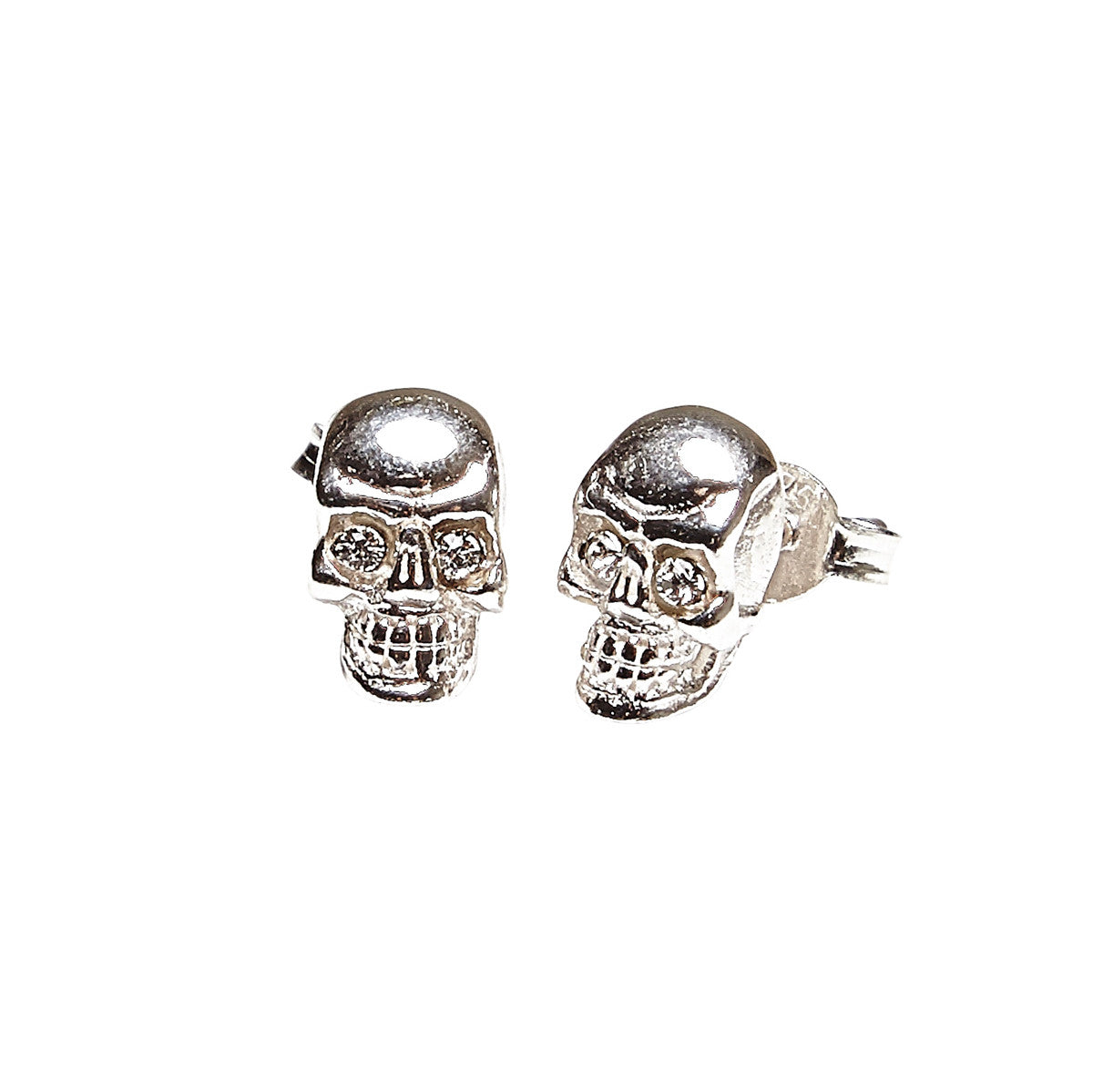 Silk & Steel Skullduggery Sterling Silver Stud Earrings